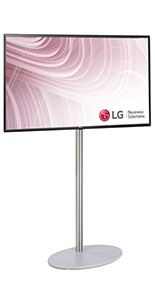 Silver digital signage with 49 inch LG TV and round silver base
