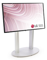 38 inch wide digital lobby sign with silver floor standing base