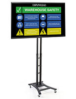 Mobile digital sign monitor with height adjustable base and 43 inch LG TV