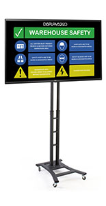 Mobile digital sign monitor with 43 inch tv and wheeled base