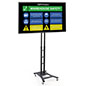 Matte black mobile digital sign monitor with VESA compatible mounting bracket and 43 inch LG TV