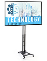 Portable digital signage with black height adjustable mobile base and 49 inch LG TV