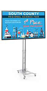 Digital signage trade show kit with 49 inch LG TV and wheeled base