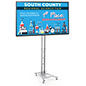 Digital signage trade show kit includes a height adjustable VESA mount and 49 inch LG TV