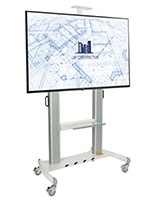 Stand alone digital signage set with 4 locking caster wheels