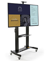 Mobile digital monitor display stand with WiFi and Bluetooth connectivity