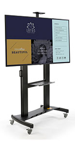 Mobile digital monitor display stand with four rolling wheels with locking casters