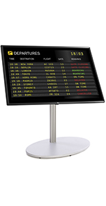 All in one digital sign with silver floor standing base
