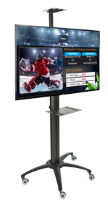 "49"" TV on Stand with Convenient Shelf Mobile Digital Sign Kit"