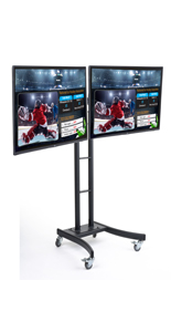 2 Horizontally Mounted LG TVs on Rolling Digital Menu Board