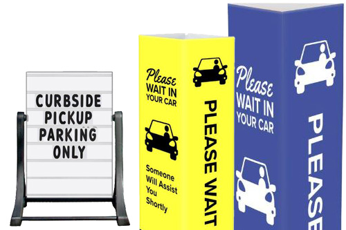 Coronavirus safety curbside pickup signs and fixtures