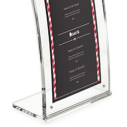 Closeup of a curved countertop sign frame with bar menu