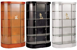 These display cases for collectibles feature a curved front design.