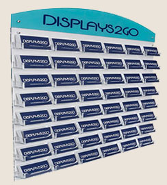 Custom fabrication card displays for business logo come in single or multiple pockets, in clear acrylic & aluminum.