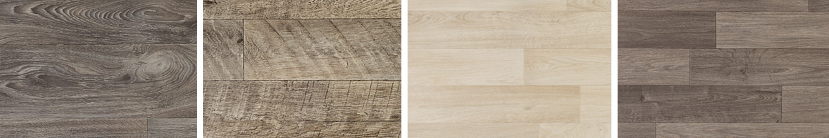 Choose from a nice selection of rollable vinyl flooring with rustic wood-grain patterns and textures!