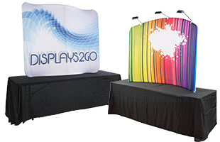 Custom-printed fabric tabletop displays