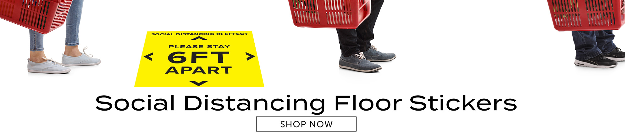 Remind your customers to stay six feet apart with our stock printed floor stickers
