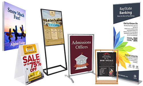 Dispensary floor stands, sidewalk signs, and banner displays with custom-printed graphics