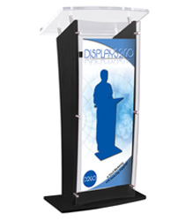 Black Lectern with Custom Sign, Weighs 32.5 lbs