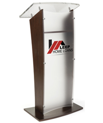 Custom Graphic Acrylic and Wood Podium for Conferences