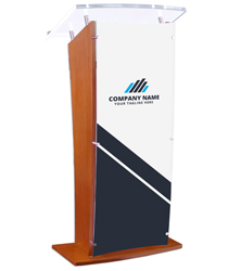 Acrylic Speaking Stand with Custom Printing, Clear Panel
