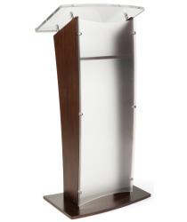 Contemporary Frosted Acrylic and Wood Podium