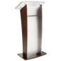 Modern Frosted Acrylic and Wood Podium