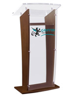 "Custom Graphic Acrylic and Wood Podium, 48.75"" Tall"