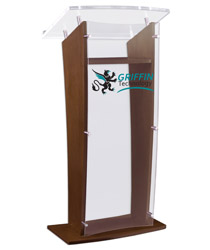 Custom Graphic Acrylic and Wood Podium with Silver Standoffs