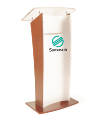 Customized Public Speaking Lectern with Wood Interior Shelf