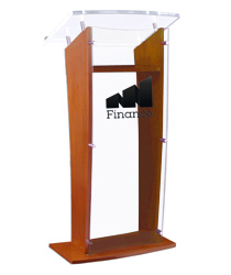 "48.75"" Tall Acrylic Speaking Stand with Custom Printing"