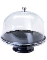 "11"" Black Cake Stand with Dome"
