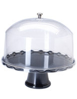 "15"" Black Cake Stand with Dome"