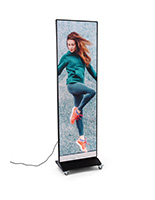 LED digital banner stand on rolling base