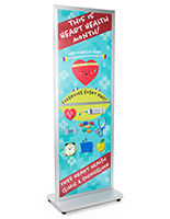 Locking wheeled fixed-width 2-sided portable poster stand