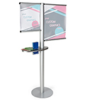 Multi rod banner display with literature holder for indoor