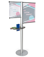 Multi rod banner display with literature holder and side channel post