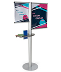 Multi rod custom banner post with literature holder & graphics