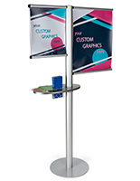 Multi rod custom banner post with literature holder & side channels