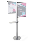 Offset banner pole with literature shelf made of MDF