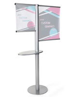 Offset banner pole with literature shelf with aluminum frame
