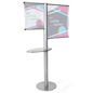 Offset banner pole with literature shelf with metal base