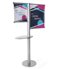 Offset custom banner stand with literature shelf with 4 printed graphics