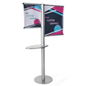 Offset custom banner stand with literature shelf with double sided design