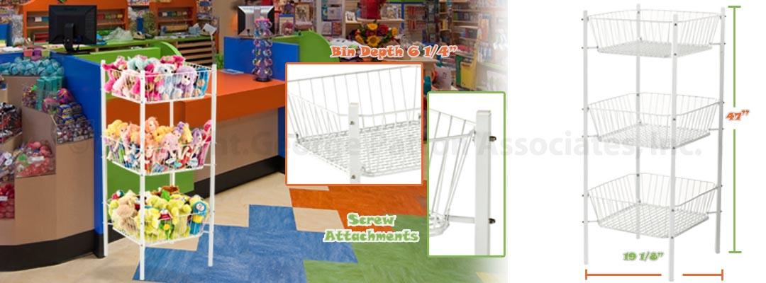 3 Tier Impulse Bin Dump Baskets For Retail Merchandising