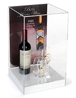 Countertop single display case with label & clear panels