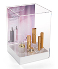 Retail counter tabletop acrylic display box with label