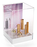 Tabletop acrylic display box with label & clear sides