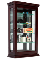 20 x 33 locking mahogany countertop curio cabinet