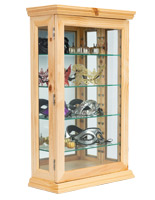 20 x 33 light oak mirrored curio counter cabinet